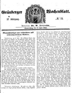 Grünberger Wochenblatt vom 04.07.1861
