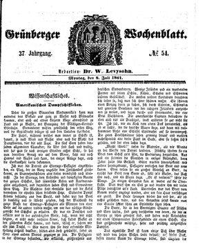 Grünberger Wochenblatt vom 08.07.1861