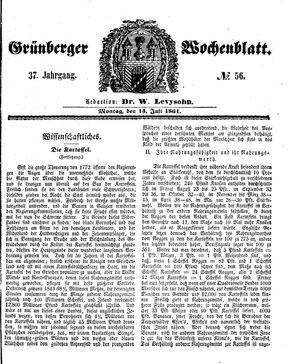 Grünberger Wochenblatt vom 15.07.1861