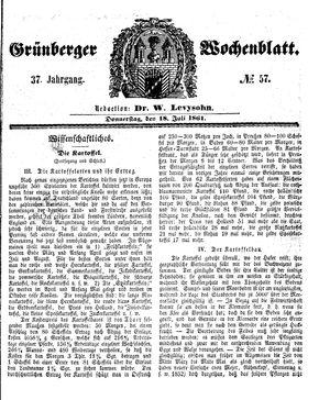 Grünberger Wochenblatt vom 18.07.1861