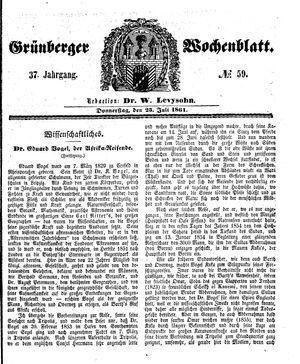 Grünberger Wochenblatt vom 25.07.1861