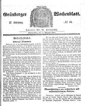 Grünberger Wochenblatt on Aug 1, 1861
