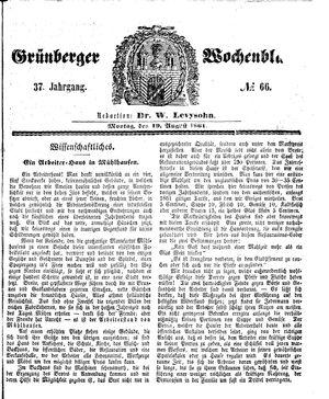 Grünberger Wochenblatt on Aug 19, 1861