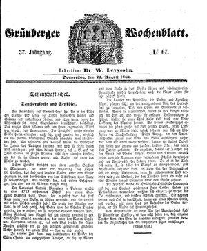 Grünberger Wochenblatt vom 22.08.1861