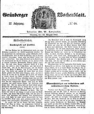 Grünberger Wochenblatt vom 26.08.1861