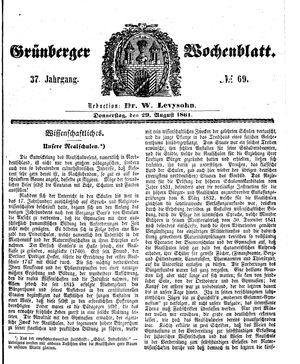 Grünberger Wochenblatt vom 29.08.1861