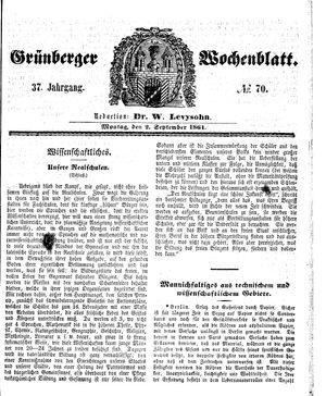 Grünberger Wochenblatt on Sep 2, 1861