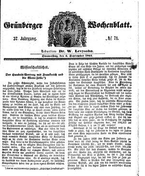 Grünberger Wochenblatt vom 05.09.1861