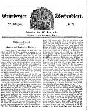 Grünberger Wochenblatt on Sep 9, 1861
