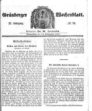 Grünberger Wochenblatt vom 12.09.1861