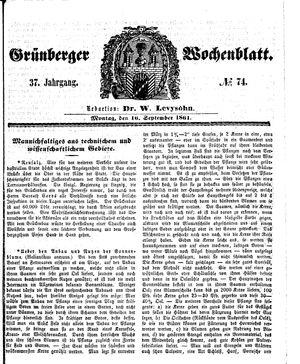 Grünberger Wochenblatt vom 16.09.1861