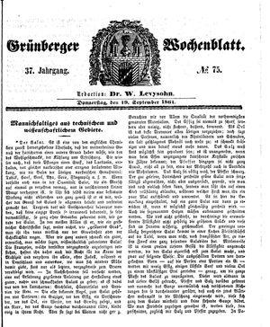 Grünberger Wochenblatt on Sep 19, 1861