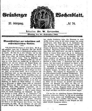 Grünberger Wochenblatt on Sep 23, 1861