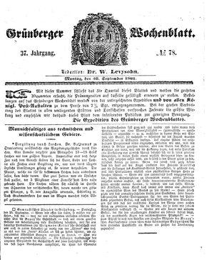 Grünberger Wochenblatt vom 30.09.1861