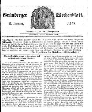 Grünberger Wochenblatt vom 03.10.1861
