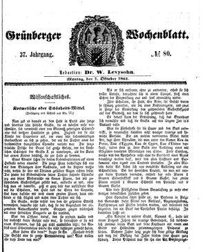 Grünberger Wochenblatt vom 07.10.1861