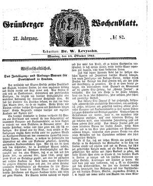 Grünberger Wochenblatt vom 14.10.1861