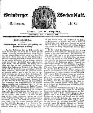 Grünberger Wochenblatt vom 17.10.1861
