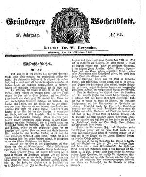 Grünberger Wochenblatt vom 21.10.1861
