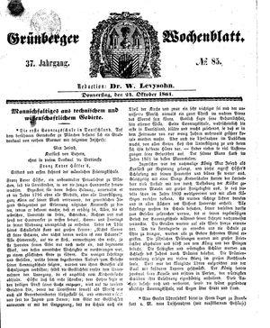 Grünberger Wochenblatt vom 24.10.1861