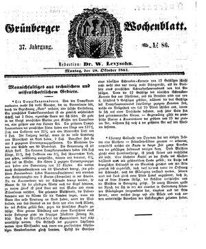 Grünberger Wochenblatt vom 28.10.1861