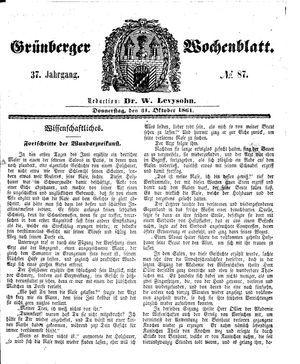 Grünberger Wochenblatt vom 31.10.1861