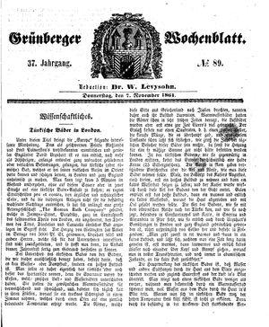 Grünberger Wochenblatt vom 07.11.1861