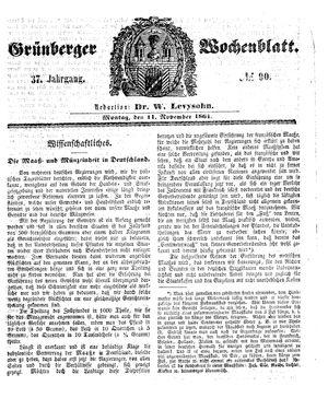 Grünberger Wochenblatt vom 11.11.1861
