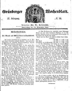 Grünberger Wochenblatt vom 14.11.1861