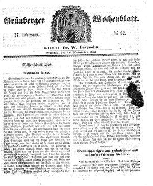 Grünberger Wochenblatt vom 18.11.1861