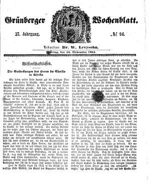 Grünberger Wochenblatt on Nov 25, 1861