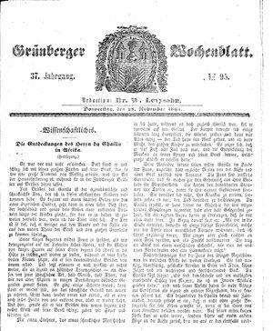 Grünberger Wochenblatt vom 28.11.1861