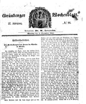 Grünberger Wochenblatt vom 02.12.1861