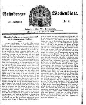 Grünberger Wochenblatt on Dec 9, 1861