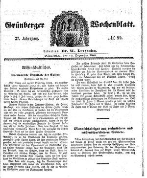 Grünberger Wochenblatt vom 12.12.1861