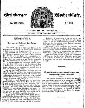 Grünberger Wochenblatt vom 16.12.1861
