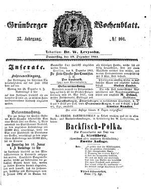 Grünberger Wochenblatt vom 19.12.1861
