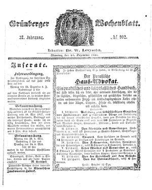Grünberger Wochenblatt vom 23.12.1861