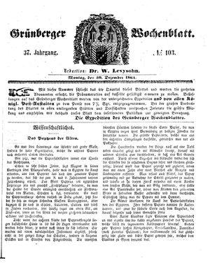 Grünberger Wochenblatt vom 30.12.1861