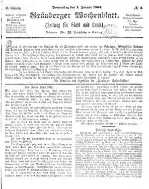 Grünberger Wochenblatt on Jan 1, 1863
