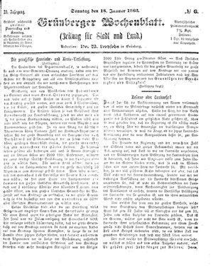 Grünberger Wochenblatt vom 18.01.1863