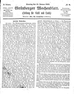 Grünberger Wochenblatt on Jan 25, 1863