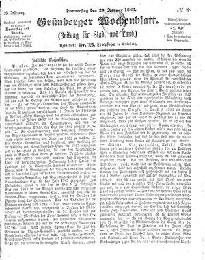 Grünberger Wochenblatt vom 29.01.1863
