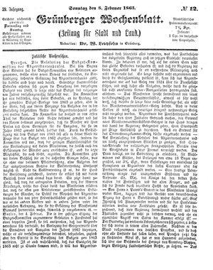 Grünberger Wochenblatt vom 08.02.1863