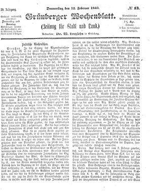 Grünberger Wochenblatt vom 12.02.1863