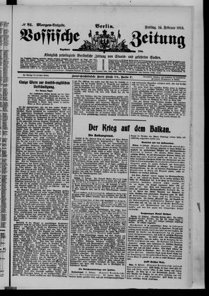 Vossische Zeitung vom 14.02.1913