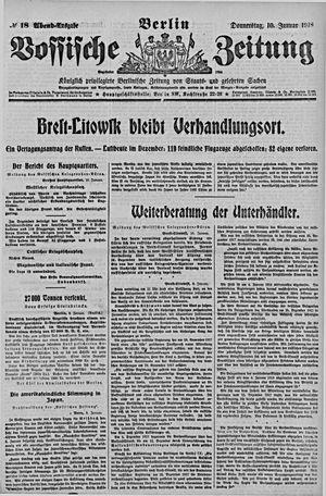 Vossische Zeitung vom 10.01.1918