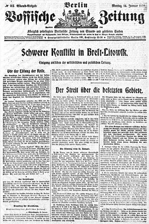 Vossische Zeitung vom 14.01.1918