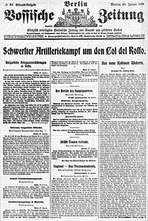 Vossische Zeitung on Jan 28, 1918