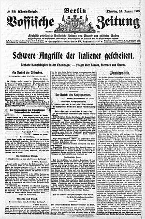 Vossische Zeitung vom 29.01.1918